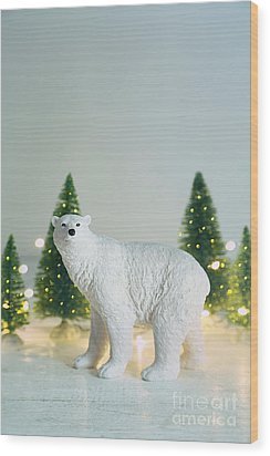 Wood Print featuring the photograph Toy Polar Bear With Little Trees And Lights by Sandra Cunningham