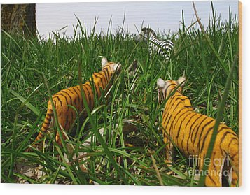 Toy Tiger Hunt Wood Print