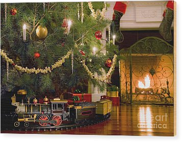 Toy Train Under The Christmas Tree Wood Print