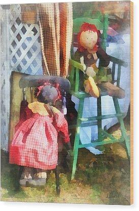 Toys - Two Rag Dolls At Flea Market Wood Print by Susan Savad