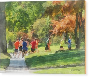 Track Team Wood Print by Susan Savad