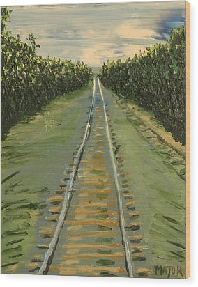 Wood Print featuring the painting Tracks Between Davis And Woodland by Clarence Major