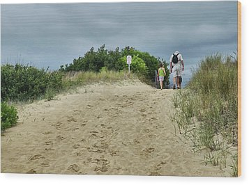 Wood Print featuring the photograph Tracks In The Sand by Barbara Manis