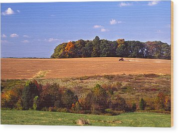 Tractor After The Harvest Wood Print by Jerry Tompkins