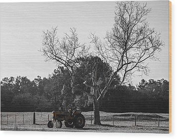 Tractor For Sale Wood Print by Steven  Taylor