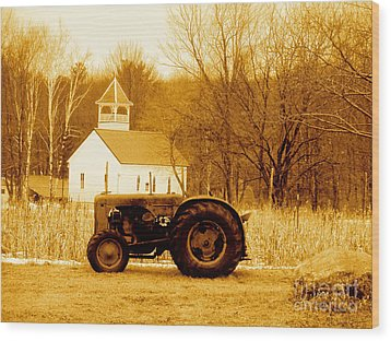 Tractor In The Field Wood Print by Desiree Paquette