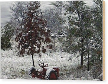 Tractor In The Snow Wood Print by Dennis Buckman