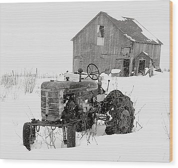 Tractor In Winter Wood Print by Jim Vance