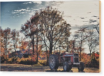 Tractor Out Of The Barn Wood Print by Kelly Reber
