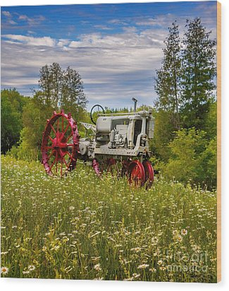 Tractor Out To Pasture Wood Print by Henry Kowalski
