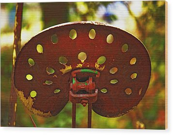 Tractor Seat Wood Print by Rowana Ray