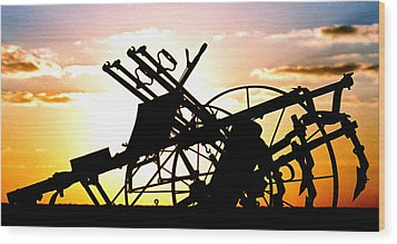 Tractor Silhouette Wood Print by Kimberleigh Ladd