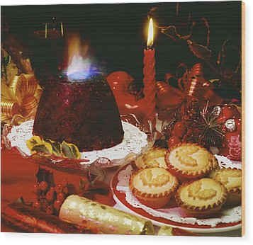 Traditional Christmas Dinner In Ireland Wood Print by The Irish Image Collection