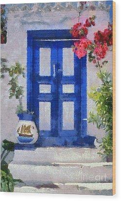 Traditional Door In Hydra Island Wood Print by George Atsametakis