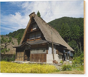 Traditional Gassho-zukuri Style House In Suganuma Village - Gokayama - Japan Wood Print by Chieko Shimado