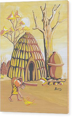 Wood Print featuring the painting Traditional House Massa Northern Cameroon by Emmanuel Baliyanga