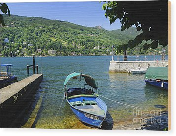 Traditional Lucia Fishing Boat On Lake Maggiore Wood Print by Brenda Kean