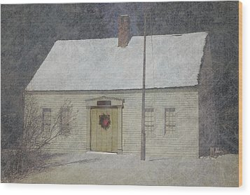 Traditional Snow Colonial Salt Box Home Christmas Card Wood Print