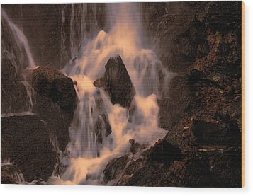 Traditional Waterfall At Sunset Wood Print by Lawrence Christopher