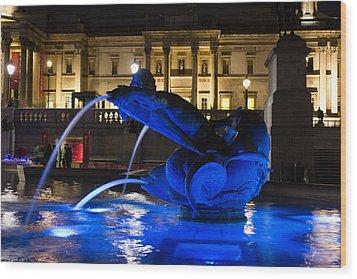 Trafalgar Square At Night Wood Print