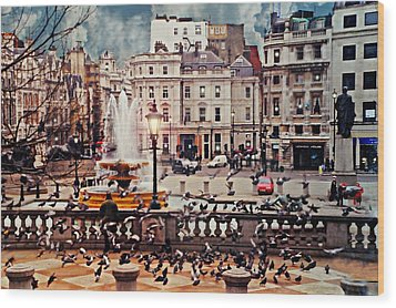 Trafalgar Square London Wood Print by Diana Angstadt