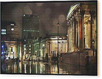Trafalgar Square Rain Wood Print by Heidi Hermes