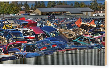 Traffic Jam - Ferrell's Auto Wrecking Wood Print by David Patterson