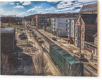 Wood Print featuring the painting Traffic On Lincoln Street by Bob Orsillo