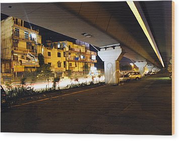 Traffic Running Beneath Flyover Wood Print by Sumit Mehndiratta