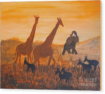 Wood Print featuring the painting Traffick On Serengeti by Donna Dixon