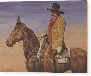 Wood Print featuring the painting Trail Boss by Ron Crabb