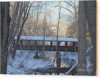 Trail River Covered Bridge Wood Print