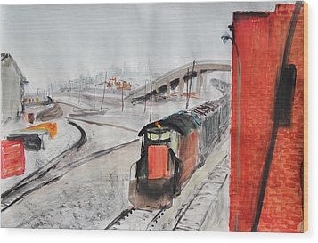 Train And Brick Wall With San Francisco Skyline Wood Print