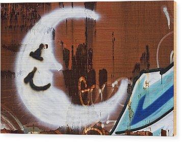 Train Art Man In The Moon Wood Print by Carol Leigh