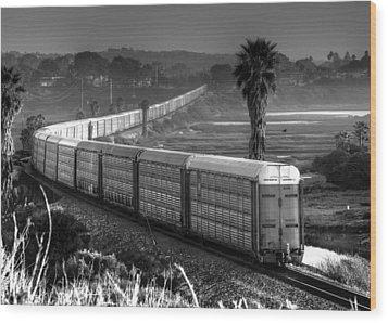 Train At San Elijo Lagoon Wood Print