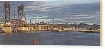 Train Bridge Panorama Wood Print