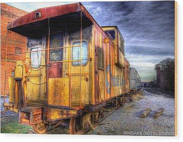 Train Caboose Wood Print