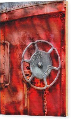 Train - Car - The Wheel Wood Print by Mike Savad