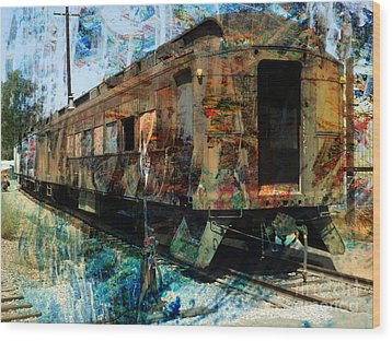 Train Cars Wood Print by Robert Ball