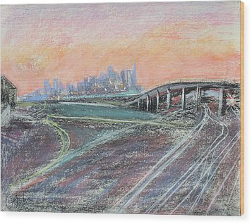Train Coming At Sunset In West Oakland Wood Print by Asha Carolyn Young