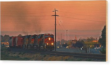 Wood Print featuring the photograph Train Coming Through by Lynn Hopwood