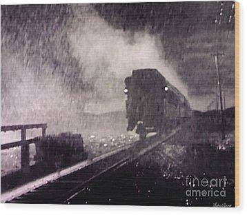 Train Departing Wood Print