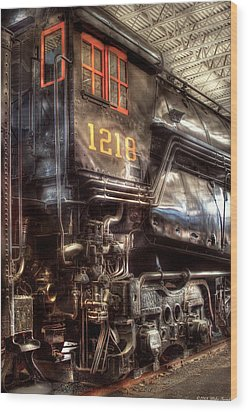Train - Engine - 1218 - Norfolk Western - Class A - 1218 Wood Print by Mike Savad