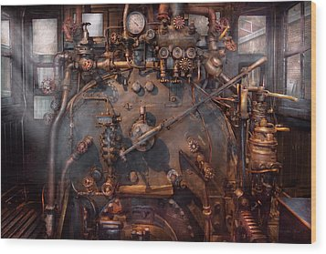 Train - Engine - Hot Under The Collar  Wood Print by Mike Savad