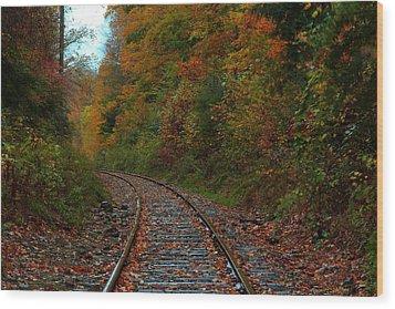 Train Fall Wood Print by Andrea Galiffi