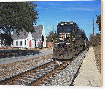 Train Goes To Church Wood Print