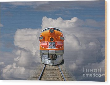 Train In Clouds Wood Print by Ron Sanford