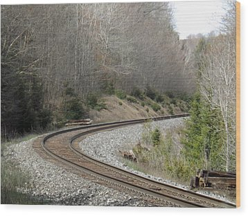 Train It Coming Around The Bend Wood Print