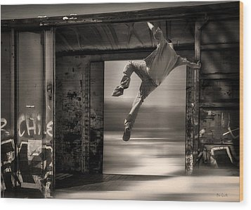 Train Jumping Wood Print by Bob Orsillo