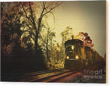 Train Ride Wood Print by Janice Spivey